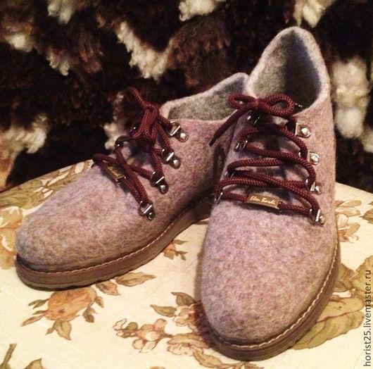 """Обувь ручной работы. Ярмарка Мастеров - ручная работа. Купить Валяные ботинки """"Анна"""". Handmade. Коричневый, обувь из войлока, подошва"""