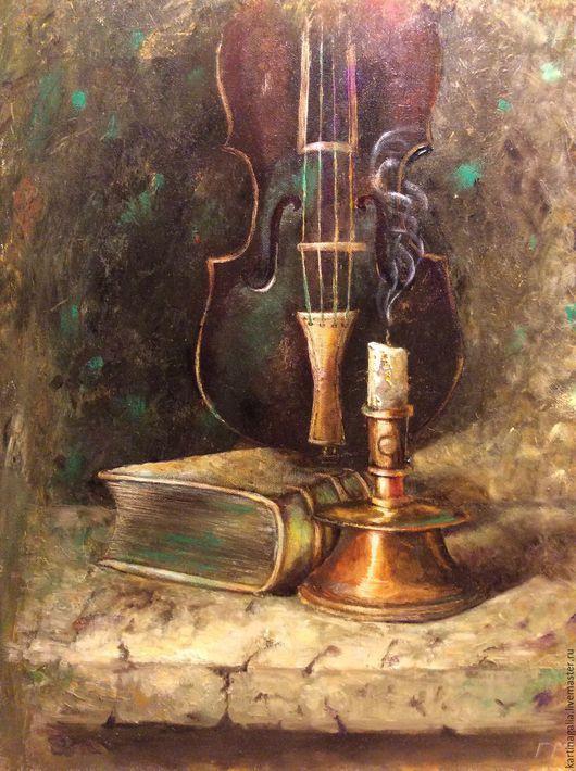 Натюрморт ручной работы. Ярмарка Мастеров - ручная работа. Купить Натюрморт со свечей. Handmade. Тёмно-зелёный, картина на холсте