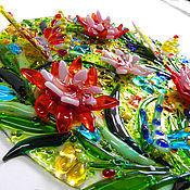 """Для дома и интерьера ручной работы. Ярмарка Мастеров - ручная работа Панно """"Бабочки-Цветы"""" объемное, фьюзинг. Handmade."""