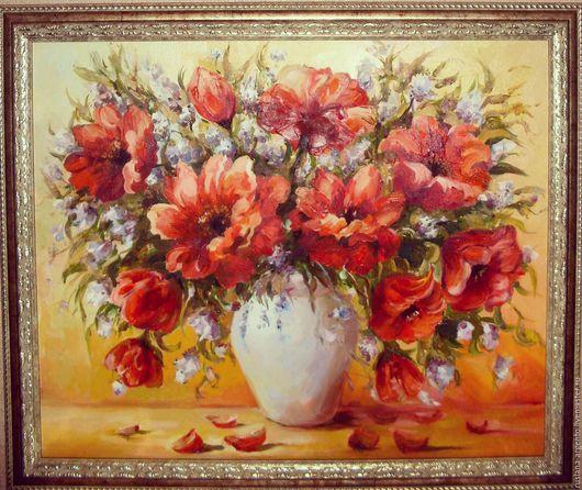 Картины цветов ручной работы. Ярмарка Мастеров - ручная работа. Купить Маки. Handmade. Ярко-красный, картина, букет цветов