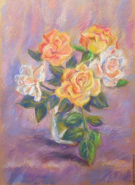Картины цветов ручной работы. Ярмарка Мастеров - ручная работа. Купить Розы. Handmade. Букет, розы, желтый, пастельные тона