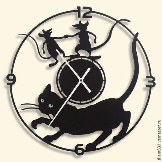 Часы для дома ручной работы. Ярмарка Мастеров - ручная работа. Купить Часы Кот и мыши. Handmade. Часы, фанера