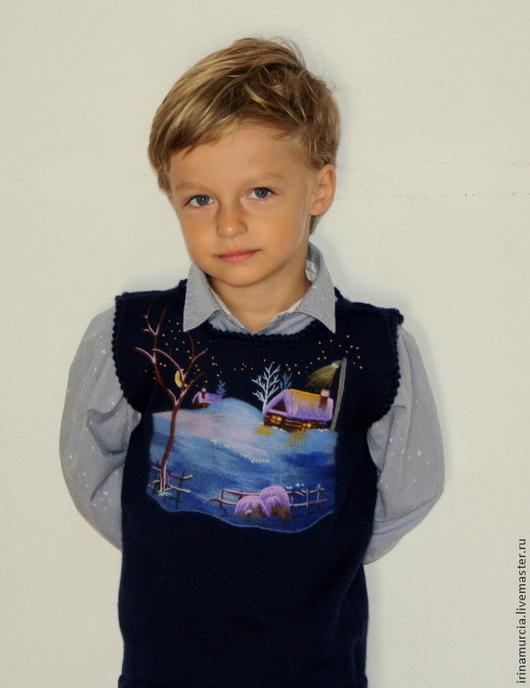 """Жилеты ручной работы. Ярмарка Мастеров - ручная работа. Купить Детский вязаный жилет """"Ночь перед Рождеством"""". Handmade."""