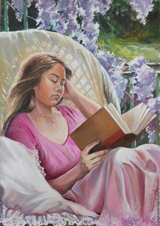 """Люди, ручной работы. Ярмарка Мастеров - ручная работа. Купить портрет """"Анюта"""". Handmade. Комбинированный, книга, портрет, цветы, кресло"""