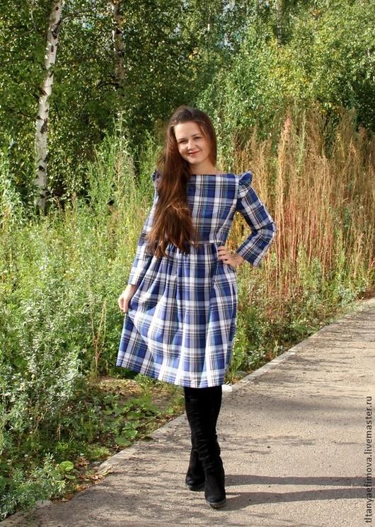 Платья ручной работы. Ярмарка Мастеров - ручная работа. Купить Платье Синяя клеточка на осень с длинным рукавом. Handmade. В клеточку