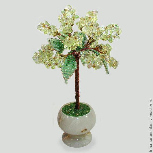 Миниатюрное дерево счастья из цитрина в вазочке из оникса
