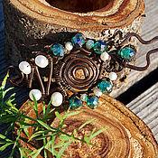 Украшения handmade. Livemaster - original item Copper brooch with pearls 001. Handmade.
