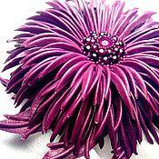 """Украшения ручной работы. Ярмарка Мастеров - ручная работа """"Вечерний свет"""" Бордовый цветок натуральная кожа гранат. Handmade."""
