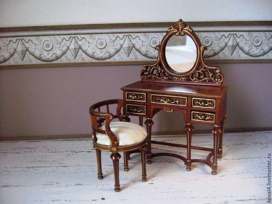 Кукольный дом ручной работы. Ярмарка Мастеров - ручная работа. Купить Мебель для кукол. Handmade. Коричневый, туалетный столик, стул