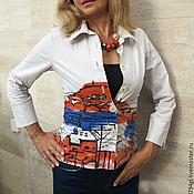 """Одежда ручной работы. Ярмарка Мастеров - ручная работа Рубашка женская""""  Городской пейзаж"""" батик. Handmade."""