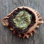 Украшения handmade. Livemaster - original item A wooden brooch with a knitted insert. Handmade.