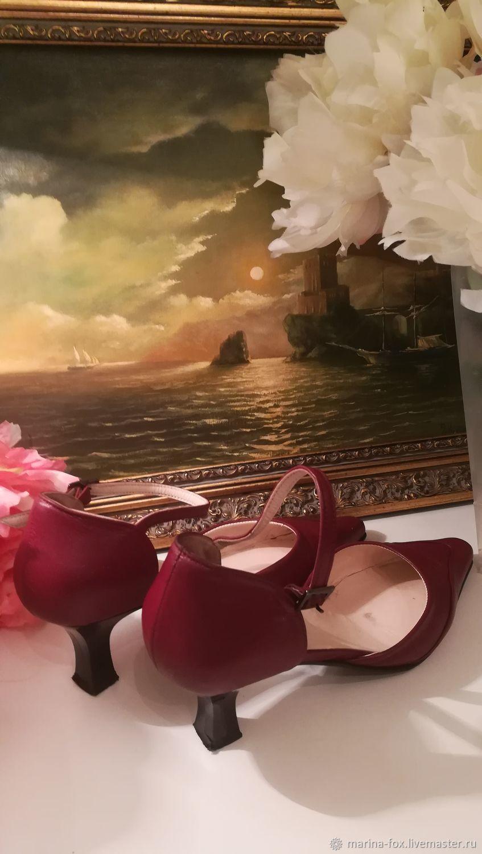 Винтаж: Вишнёвые туфли Грета Гарбо кожаные 36 р, Винтажная обувь, Москва,  Фото №1