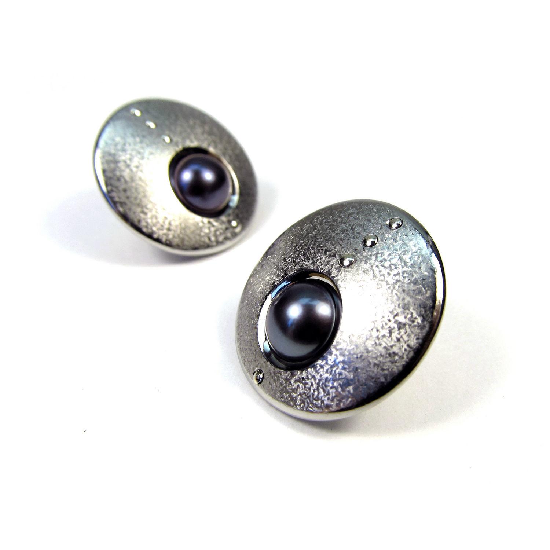 Hoop earrings with pearls CIRCUM, Stud earrings, St. Petersburg,  Фото №1