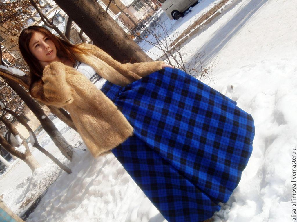 Long warm skirt tartan floor patch pocket 'frost', Skirts, Tashkent,  Фото №1