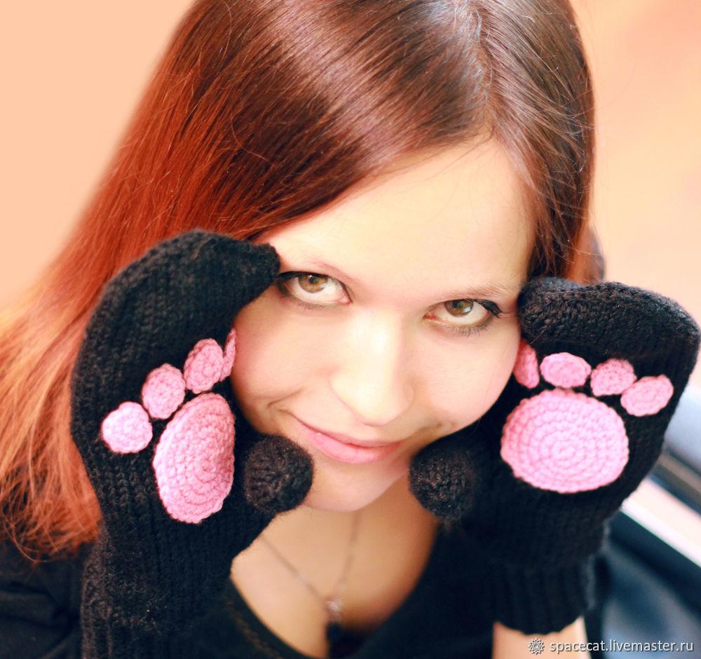 Варежки с лапками вязаные женские детские варежки Кошка, Варежки, Оренбург,  Фото №1