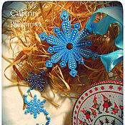 """Подарки к праздникам ручной работы. Ярмарка Мастеров - ручная работа Новогодняя гирлянда-подвеска вертикальная """"Новогодний снегопад"""". Handmade."""