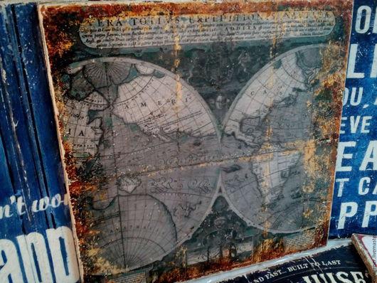 Репродукции ручной работы. Ярмарка Мастеров - ручная работа. Купить Панно 40х40 на толстом дереве_Старинная карта мира W0115. Handmade.