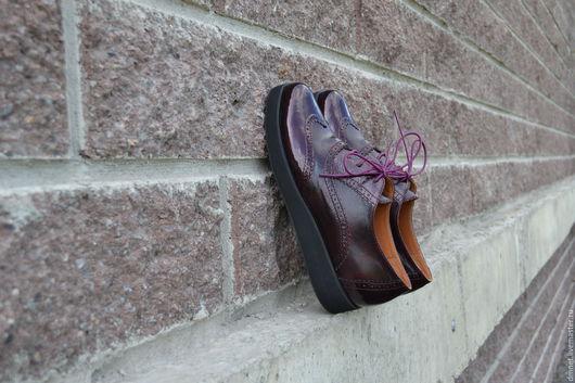 Обувь ручной работы. Ярмарка Мастеров - ручная работа. Купить Оксфорд бордовый комбинированный на платформе. Handmade. Бордовый, ручная работа