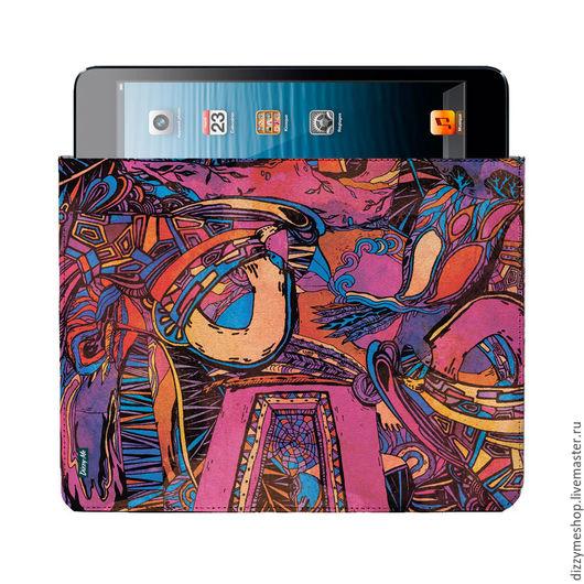 """Для телефонов ручной работы. Ярмарка Мастеров - ручная работа. Купить Чехол для iPad универсальный """"Алфавит"""". Handmade. Розовый, орнамент"""