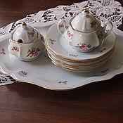 Винтаж handmade. Livemaster - original item Dessert set with fine China, 1922-1945. Handmade.