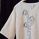 """Блузки ручной работы. Ярмарка Мастеров - ручная работа. Купить Блузка для раскрашивания с ручной набойкой """"Цветы"""". Handmade. Чёрно-белый"""