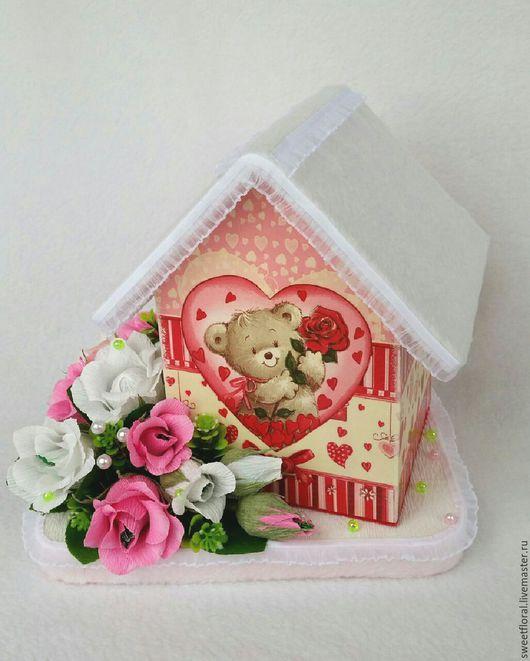 Букеты ручной работы. Ярмарка Мастеров - ручная работа. Купить Подарок для девочки  на день рождения, домик для подарка. Handmade.