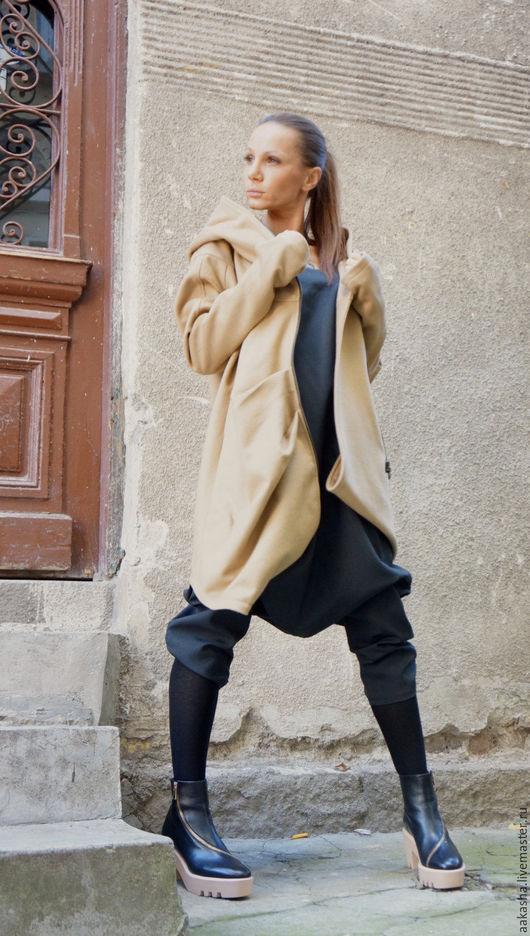 Пальто осеннее пальто модное ассиметричное пальто экстравагантное пальто мода 2016 осень дизайнерское пальто милитари хаки кашемировое пальто шерстяное пальто