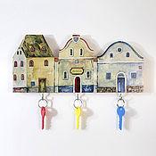 Для дома и интерьера handmade. Livemaster - original item Wooden Key holder Town houses. Handmade.