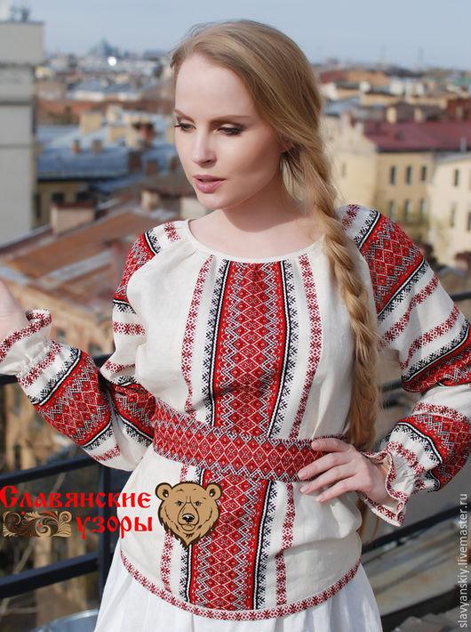 """Блузки ручной работы. Ярмарка Мастеров - ручная работа. Купить Блуза """"Ладушка"""". Handmade. Ярко-красный, блуза, рубаха русская"""