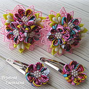 Работы для детей, handmade. Livemaster - original item Hair bands Kaleidoscope in the technique of kanzashi. Handmade.