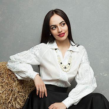 Одежда ручной работы. Ярмарка Мастеров - ручная работа Белая блуза с вышивкой. Handmade.