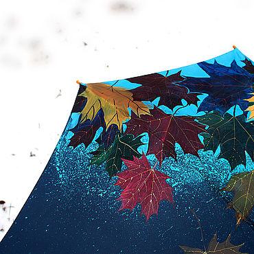 Аксессуары ручной работы. Ярмарка Мастеров - ручная работа Зонт с авторской ручной росписью Осенние листья на снегу. Handmade.
