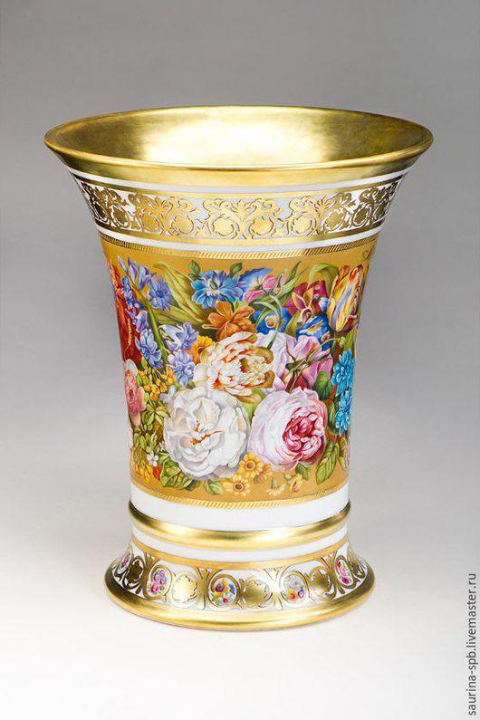 Вазы ручной работы. Ярмарка Мастеров - ручная работа. Купить ваза Цветы. Handmade. Надглазурная роспись, золотой