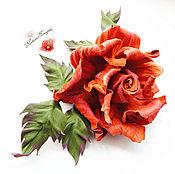 """Украшения ручной работы. Ярмарка Мастеров - ручная работа цветы из кожи, брошь из кожи"""" Роза"""" украшения. Handmade."""