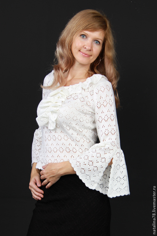 Блузки ручной работы. Ярмарка Мастеров - ручная работа. Купить Ажурная блузка с жабо. Handmade. Голубой, кофта, вязание