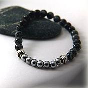 Украшения handmade. Livemaster - original item The guardian bracelet, from the snow obsidian and hematite.. Handmade.
