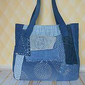 Джинсовая сумка с элементами стёжки Боро