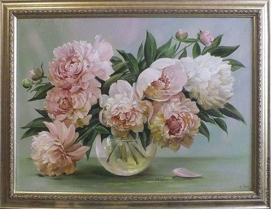 """Картины цветов ручной работы. Ярмарка Мастеров - ручная работа. Купить """"""""Бело-розовые пионы"""". Handmade. Бледно-розовый"""