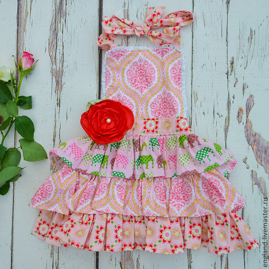 Одежда для девочек, ручной работы. Ярмарка Мастеров - ручная работа. Купить Нарядный фартук сарафан для девочки слоники Хлопок. Handmade.