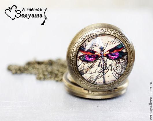 """Часы ручной работы. Ярмарка Мастеров - ручная работа. Купить Часы-кулон """"Стрекоза"""". Handmade. Бежевый, открывающиеся часы, металл"""