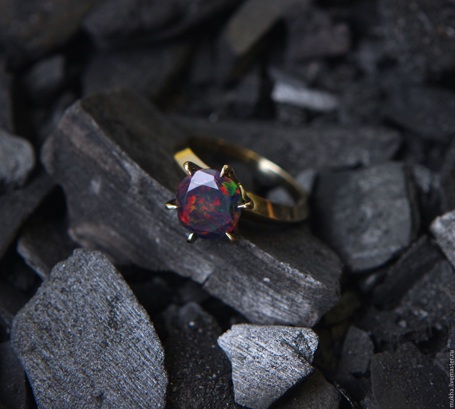 Terracota ring with black opal, Rings, Moscow,  Фото №1