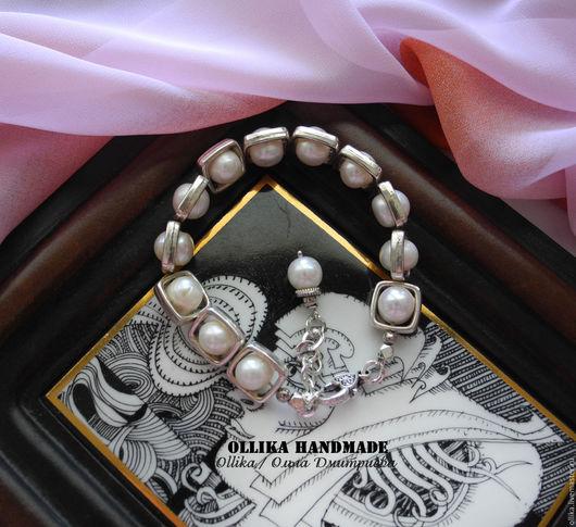 Браслет Жемчужная Графика, жемчужное украшение, под серебро