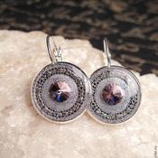 Украшения handmade. Livemaster - original item Earrings with jewelry resin and lilac crystal.. Handmade.