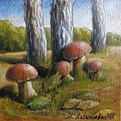 Картины и панно ручной работы. Ярмарка Мастеров - ручная работа Миниатюра маслом Белые грибы. Handmade.