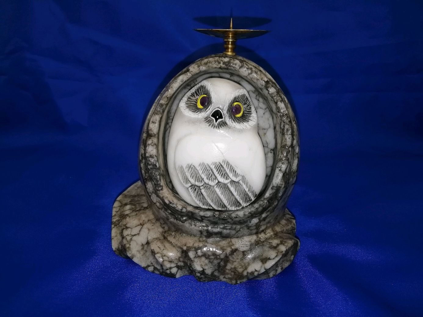 Candlestick Owl in egg made of natural Ural stone Anhydrite, Candlesticks, Horde,  Фото №1