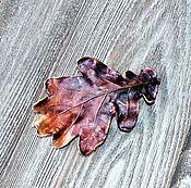 Украшения ручной работы. Ярмарка Мастеров - ручная работа Крупная медная брошь или кулон из дубового листа, гальваника. Handmade.