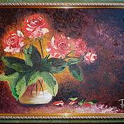 Картины и панно ручной работы. Ярмарка Мастеров - ручная работа Розы в вазе. Handmade.