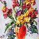 Картины цветов ручной работы. Ярмарка Мастеров - ручная работа. Купить Картина вышитая лентами Ирисы в желтой вазе. Handmade.