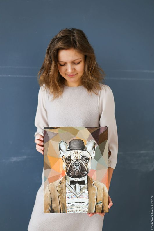Животные ручной работы. Ярмарка Мастеров - ручная работа. Купить Французский бульдог. Handmade. Комбинированный, портрет собаки, картина в подарок