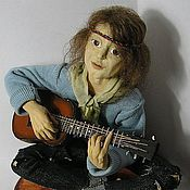 Куклы и игрушки handmade. Livemaster - original item Doll Hippie with a guitar dolls. Handmade.